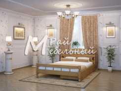 Двуспальная кровать из березы Баку с ящиками