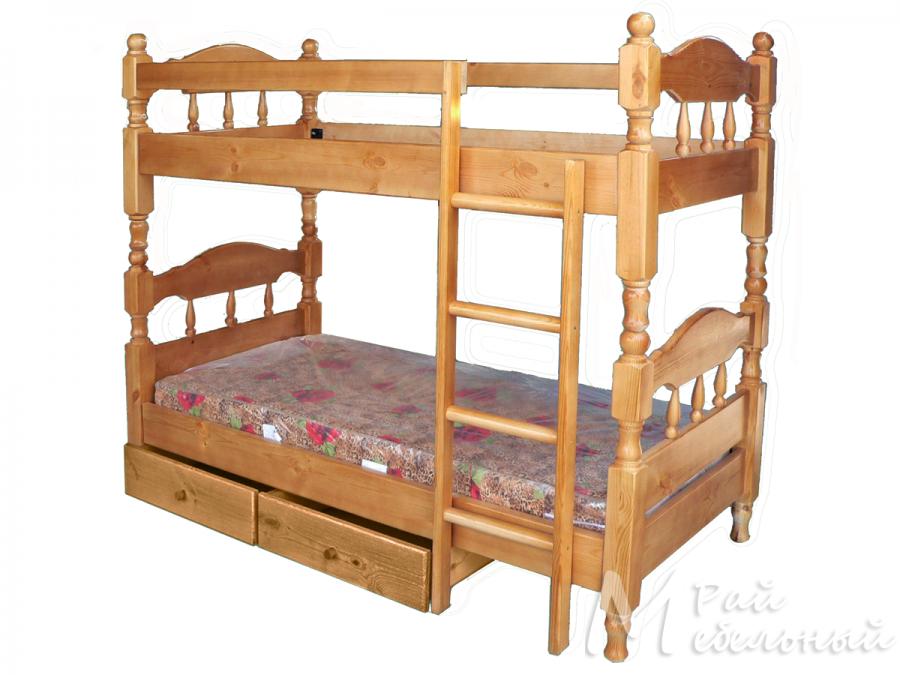 Кровать двухъярусная Дамаск с ящиками