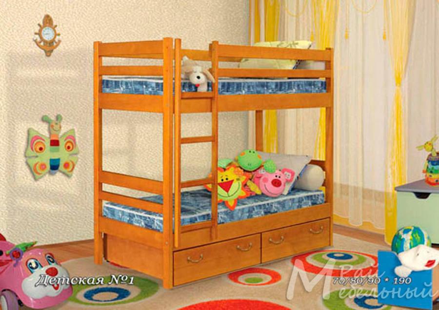 Кровать двухъярусная Детская 1 с ящиками