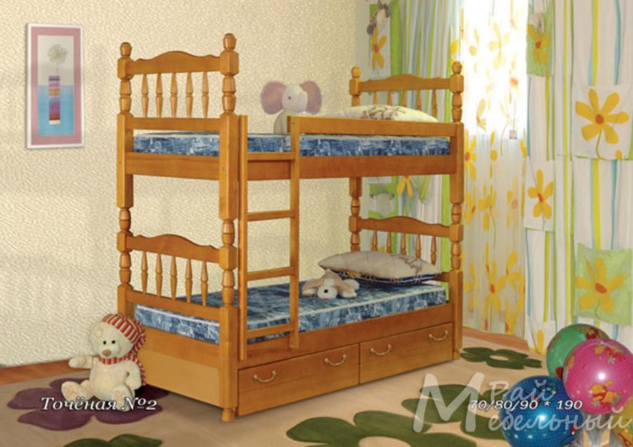 Кровать детская двухъярусная Точеная 2